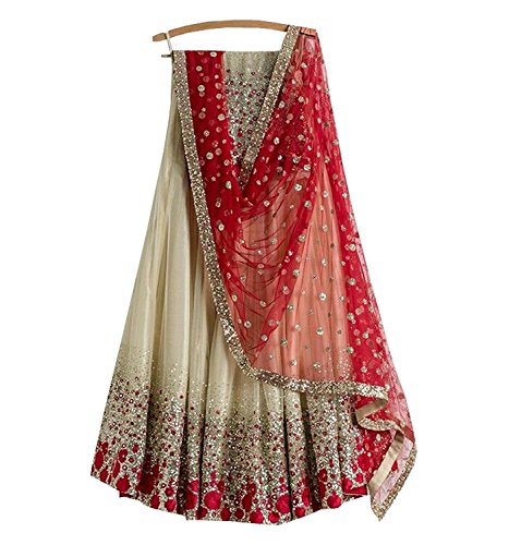 Premiier Collection Women's Cream Net Lehenga cholis(PR651_Cream_Free Size)