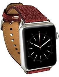 Barchello Apple reloj correa 38mm para Series1Series2hecha a mano Genuine Cuero Correa Muñeca Banda Reemplazo clásico hebilla con acero de plata adaptadores para Apple iWatch Rojo, diseño de serpiente