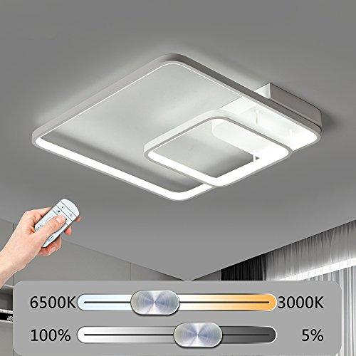 Modern LED Eckige Deckenleuchte Stufenlos Dimmbar Deckenlampe mit Fernbedienung 2 Ringe Kreative Deckenbeleuchtung Acrylschirm Design Minimalistischen Wohnzimmerleuchte Kunst Schlafzimmerleuchte Weiß (60W-52CM)