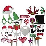 Als Geschenkidee zu Weihnachten bestellen Für die Freundin - 27 Tlg. Party Weihnachten Hochzeit Foto Verkleidung Schnurrbart Lippen Brille Krawatte Hueten Photo Booth Props Set Partymitbringsel