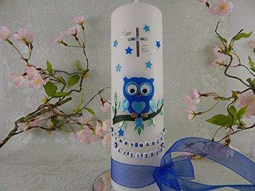 Taufkerze Eule blau handmade Taufkerzen für Jungen 250/70 mm mit Name und Datum - 2