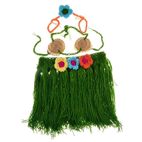 BESTOYARD 3 Stück Baby Mädchen handgemachte Strickte Hula Kostüm Set Fotografie Requisiten (Rock mit Blumen) (Baby Kleidung Hawaiian)
