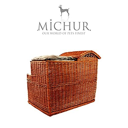 Michur Uncle Tom's Hut beige wicker house cave bed for dogs cats incl. Pillows 5