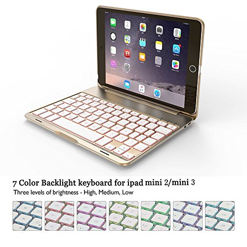 BECROWM EU iPad Mini 2 3 Keyboard Case, Ultra Slim Hard Shell Folio Ständer Smart Cover mit 7 Farben Hintergrundbeleuchtung Wireless Bluetooth Tastatur für Apple iPad iPad Mini2/3 20,1 cm (Ipad Mini Clam)