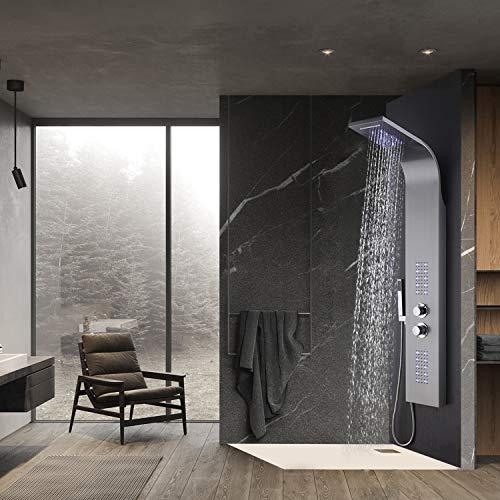 WENHAUS Duschpaneel LED Duschsystem aus 304 Edelstahl Mit Thermostat 4 Duschfunktionen, Wellness Luxus Duschsystem Mit Regendusche Und Handbrause, Wasserfall Massage Jets Duschsäule (600013)