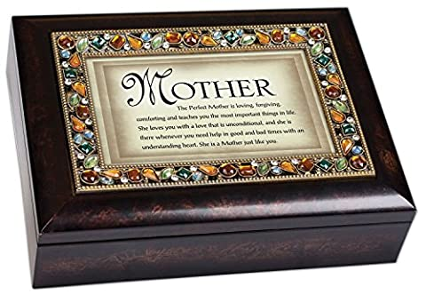 The Perfect Mother Italian Style Burlwood Decorative Mom Musical Music Jewelry Box Plays You Light Up My Life by Cottage Garden