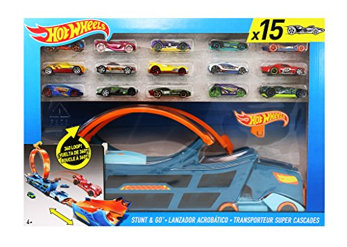 Hot Wheels Stunt n 'Go Track Set mit 15 Autos und integriertem Akrobatic Launcher (Hotwheels Autos Launcher)