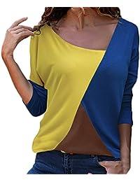 Mujeres Ocio Patchwork Camisa,Lonshell Moda Mujer Casual Labor de Retazos Bloque de Color Cuello