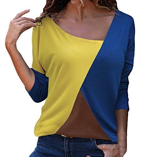 Lazzboy T-Shirt Oberteile Damen Casual Patchwork Farbblock Sommer Mode Asymmetrischer V-Ausschnitt(Blau-B,2XL)