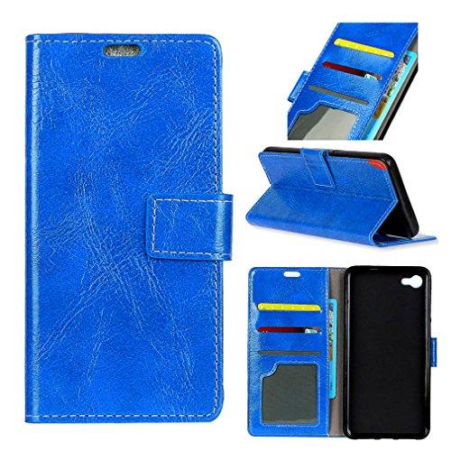 LMFULM® Hülle für Alcatel A50 PU Leder Magnetverschluss Brieftasche Lederhülle Retro Crazy Horse Muster Stent-Funktion Ledertasche Flip Cover für Alcatel A50 Blau