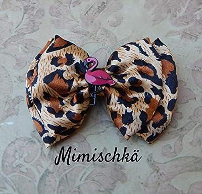 pince à cheveux pin up rockabilly flamant rose léopard hair clip flamingo leopard