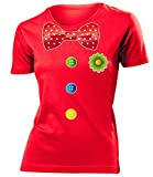 Clownkostüm Clown Kostüm Kleidung 762 Damen T-Shirt Frauen Karneval Fasching Faschingskostüm Karnevalskostüm Paarkostüm Gruppenkostüm Rot M