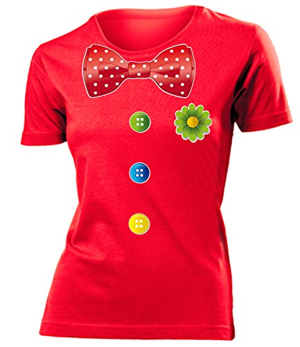 ostüm Kleidung 762 Damen T-Shirt Frauen Karneval Fasching Faschingskostüm Karnevalskostüm Paarkostüm Gruppenkostüm Rot XL ()
