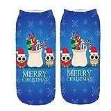 UJUNAOR Frauen Weihnachten 3D Gedruckt Niedrige Socken Merry Christmas(E,One Size)