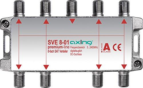 Axing SVE 8-01 8-Fach SAT-Verteiler Splitter für DVB-T2 HD BK Unicable (5-2400 MHz)