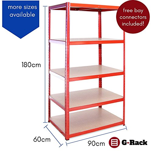 Garage Shelving Units: 180cm x 90cm x 60cm | Heavy Duty Racking Shelves for Storage – 3 Bay, Red 5 Tier (265KG Per Shelf), 1325KG Capacity | for Workshop, Shed, Office | 5 Year Warranty