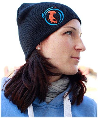 Damen Mütze Stick Hai Logo 100% Baumwolle Unisize Taucher Beanie