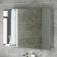 iBath - Armario de pared (3 puertas. acero inoxidable y espejo, 1200 mm)