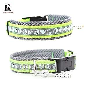 Hundehalsband - I love the Woods- Grau/Grün; wahlweise mit Gravur und weiteren Extras