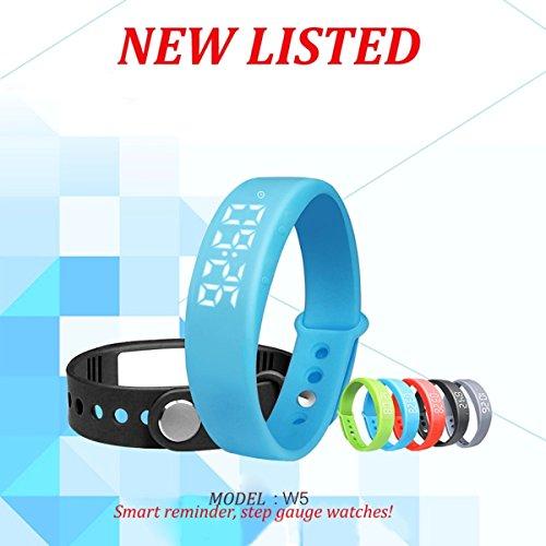 BINKO W5 LED Smart Armbanduhr Sportuhr Schrittzähler Gesundheit Armbanduhr Aktivitätstracker FitnessArmband Kalorienzähler Schlaftracker (W5-Orange)
