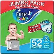 Fine Baby Diapers, DoubleLock Technology , Size 3, Medium 4–9kg, Jumbo Pack. 52 diaper count