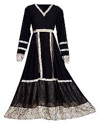A M Creations Womens Stretchable Lycra Black Color Burqa (Small, Black & Golden)