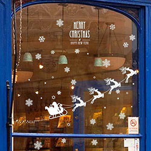 Wandaufkleber Glasaufkleber Weihnachten Elch Ornament Aufkleber Schneeflocke Glasaufkleber Wohnzimmer Schlafzimmer Einkaufszentrum Fenster Layout Abnehmbare Wandaufkleber 130 * 58Cm -