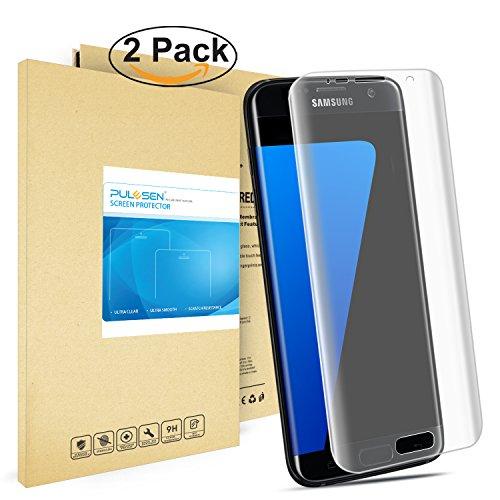 Galaxy S7 Edge Schutzfolie, Pulesen® [2-Pack] Samsung Galaxy S7 Edge Folie [HD Klare, 99% Transparenz] Schutzfolie für Galaxy S7 Edge displayschutzfolie, Screen Protector