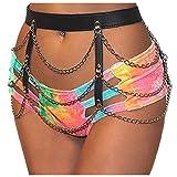 KELAND - Arnés de cuero sintético para mujer con cinturón de seguridad, cadena de metal, para la cintura