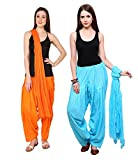 Pistaa combo of Orange and Sky Blue Color full Pure Cotton Best Indian Awesome Plain Readymade Patiala salwar With Matching dupatta set