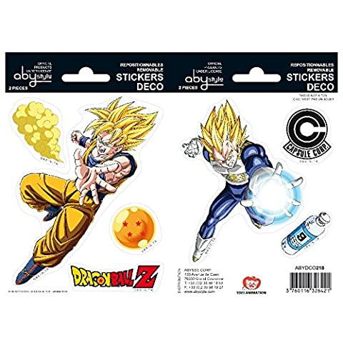 Abystyle - ABYDCO218 - Ameublement et Décoration - Dragon Ball - Stickers - 2 Planches - DBZ / Goku - Végéta - X5 - 16 x 11
