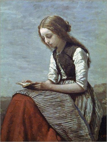 Posterlounge Leinwandbild 60 x 80 cm: Lesendes Mädchen von Jean-Baptiste Camille Corot/akg-Images - fertiges Wandbild, Bild auf Keilrahmen, Fertigbild auf echter Leinwand, - Literatur Kostüm
