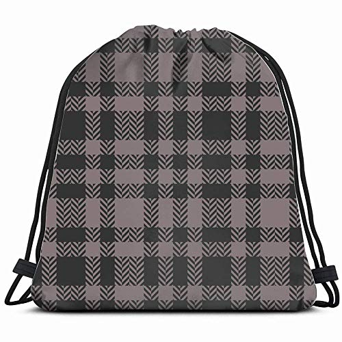ANGLAOU Brown Plaid Abstract Beauty Fashion Drawstring Backpack Bag for Kids Boys Girls Teens Birthday, Gift String Bag Gym Cinch Sack for School and Party -