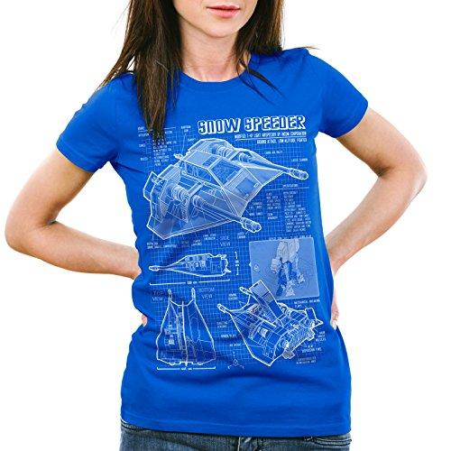 style3 Snowspeeder T-47 T-Shirt da donna cianografia hoth airspeeder Blu