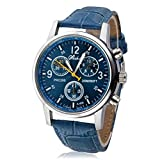 Toamen Luxury Fashion Faux Leather Mens Blue Ray Glass Quartz Analog Watches (Blue+Blue)