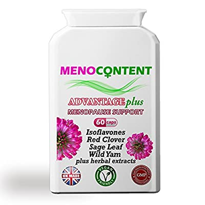 Menopause relief for hot flashes, night sweats, mood swings, insomnia. Hormone-free herbal formula with Isoflavones, Red Clover, Wild Yam, Sage Leaf, Herbal Extracts. 60 Capsules