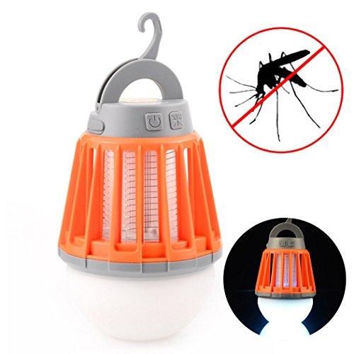 HOTSO Linterna Mosquitera LED Eléctrica Mata Mosquitos para Terraza de Casa Portátil Lámpara Recargable Camping Elimina Insectos en Jardín Aire Libre 2 en 1 Matamoscas –Naranjo