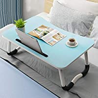 Study Table Bed, Foldable Laptop Table Breakfast Tray Notebook Stand Reading Holder for Couch Sofa Floor Kids (Color : Blue)