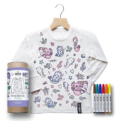 Geburtstags-Shirt zum ausmalen, Motiv: Meerjungfrau Gr. 6-8 Jahre, weiß - 7. Geburtstags-shirt