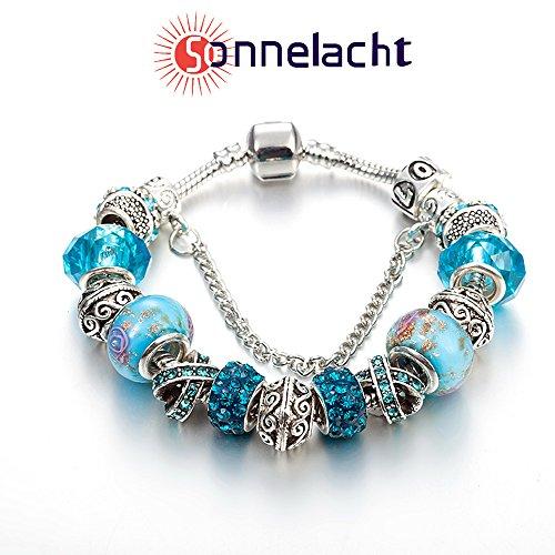 NATIONALES WINDARMBAND Silber überzogene Charme-Armband mit Zirkonia und Murano Glasperlen (Blaues)