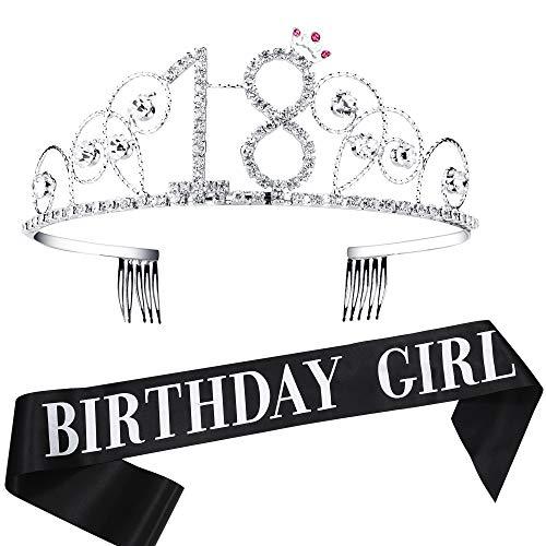 Krone mit Geburtstag Schärpe Satin Birthday Crown and Sash Set Geburtstagsdeko Geschenk für Damen Geburtstag Party Accessoires (18 Jahre alt - Silber) ()