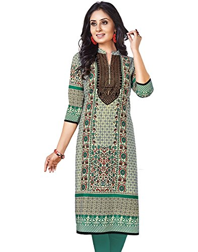 Jevi Prints Beige & Green Unstitched Women\'s Cotton Printed Kurti Fabric (Fabric Only for Top) K-1202