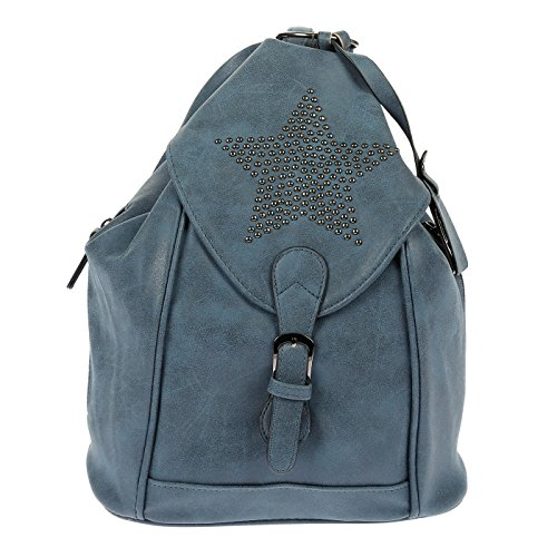 Nili Bags and More Damen Rucksack Stern Handtasche Shopper Rucksackhandtasche Handtasche Bag (Blau)