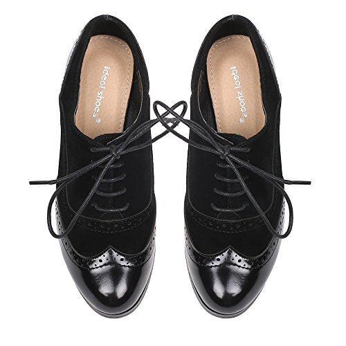 Ideal Shoes – Scarpe francesine Diva, bi-materiale, col tacco Nero