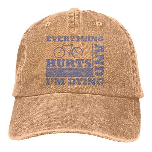 krooe Everythings Hurts I'm Dying Unisex Washed Fashion Cowboyhut Jeans-Baseballkappe Coolmax-skull-cap