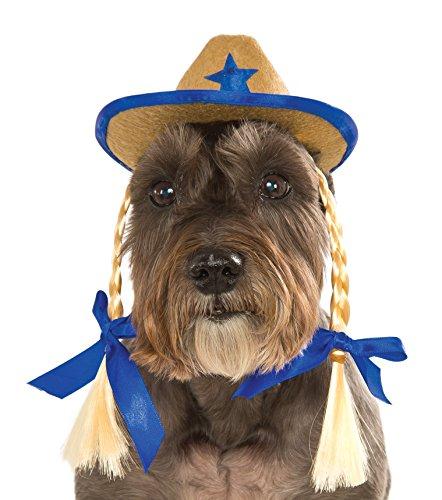 Rubies Pet Cowgirl Hat With Braids - Cowgirl Hunde Für Halloween-kostüm