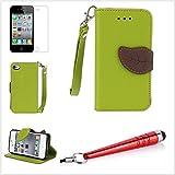 Alefant PU Leder Blatt Textur Flip Book Stil Handyhülle mit Kartenfach für iPhone 4 4s Tasche Schale (Grün)