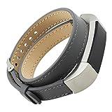 Fitbit Alta Best Deals - Pour Fitbit Alta Bracelet ,Clode® Double Tour de cuir véritable bracelet montre bracelet Bracelet Pour Fitbit Alta (gris)