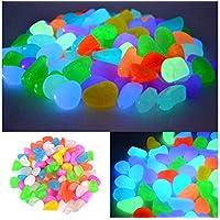 DSstyles resplandor en los guijarros oscuros 100 piezas Aquarium Pebbles Luminous piedras de guijarros para el jardín, pasarela