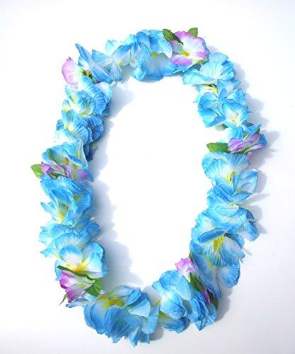 Haweiikette, Blumenkette, Hawaii Hula Kette für Party, Strand, Fasching, Karneval, große Blütenblätter, Ombre Farbverlauf (blau) -
